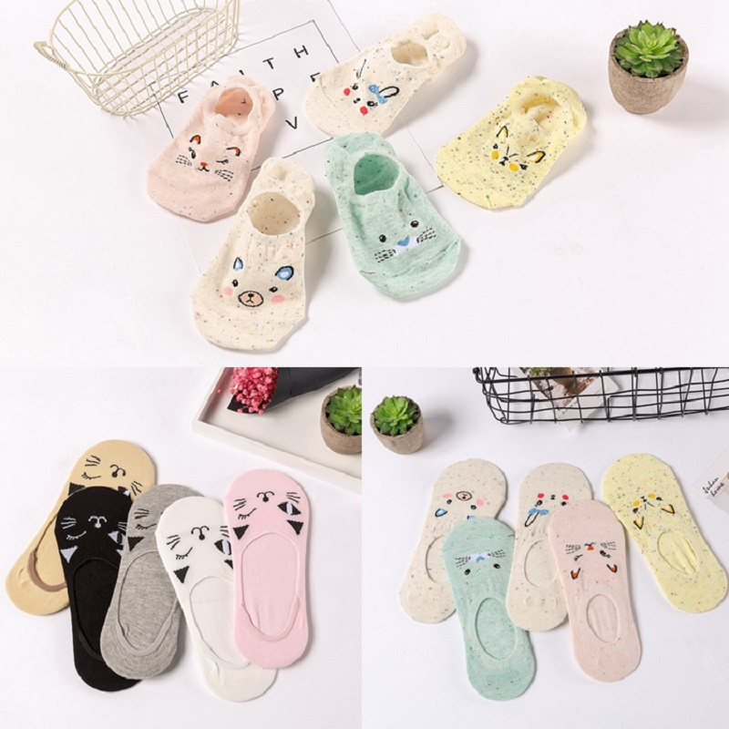Hot 5 Pairs Women Socks Candy Color Small Animal Cartoon Pattern Boat Sock For Summer Breathable Soft Girls Funny Fashion