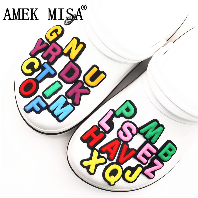 Single Sale 1Pcs Shoe Charms Decoration 26 English Letters Free Combination Shoe Accessories For Croc Jibz Kid's Party X-mas
