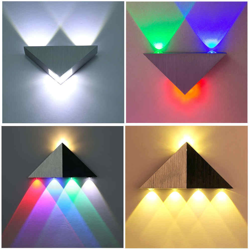 3w 5w Led Wall Lights Multicolor Triangle Aluminum Lamp Indoor Living Room Stair Aisle Bedroom Bedside Modern Decorate Wall Lamp Led Indoor Wall Lamps Aliexpress