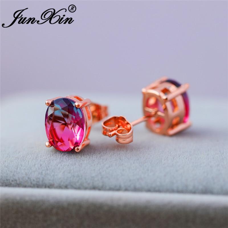 Gradient Mystic Fire Crystal Red Blue Stone Double Earrings Rose Gold Oval Zircon Rainbow Wedding Stud Earring For Women Jewelry