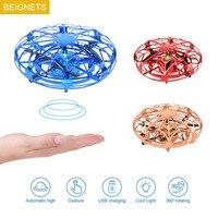 Mini UFO Drone RC elicottero aereo giocattolo quadricottero infrarossi rilevamento manuale disco volante interattivo giocattoli RC dorato/rosso/blu