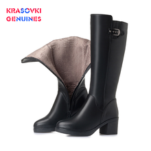 Krasovki Genuines Plush Women Snow Boot Warm Genuine Leather Fur Warm Shoes Plush Mid Calf Boots Platform for Women Winter Boots women boots winter warm mid calf martin boots for women genuine leather casual shoes ladies zipper buckle motorcycle boot