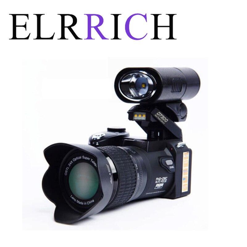 Цифровая камера ELRRICH POLO D7300, Профессиональная зеркальная видеокамера с автофокусом, 33 миллиона пикселей, 24X оптический зум, 3 HD-объектива