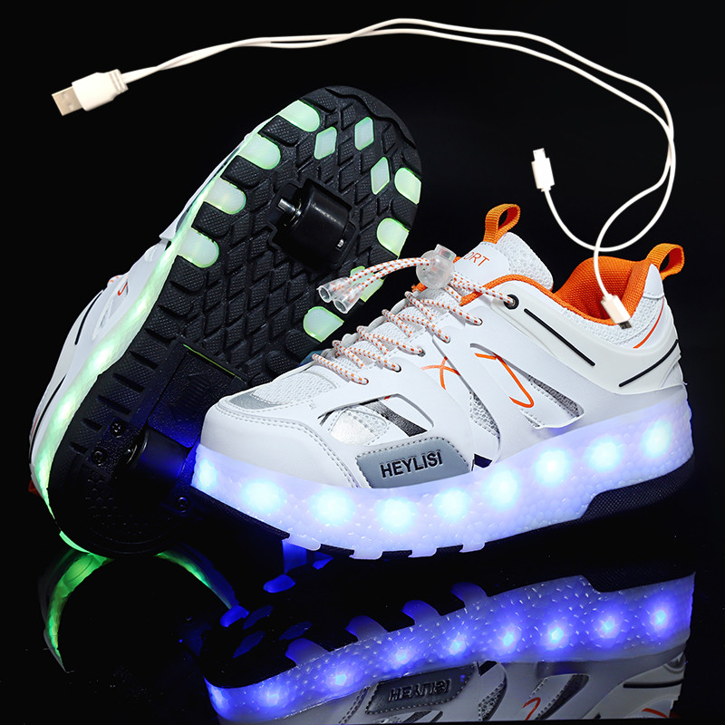 Children One Two Wheels Luminous Glowing Sneakers Gold Pink Led Light Roller Skate Shoes Kids Led Shoes Boys Girls USB Charging