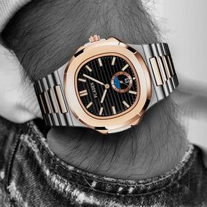 Image 1 - New Two Tone Gold Patek Watch Nautilus 5711 Designer Diving Watch Men Black Dial Chronograph Steel Bracelet AAA Waterproof Watch