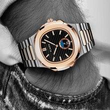 Nowy dwukolorowy złoty zegarek Patek Nautilus 5711 projektant zegarek do nurkowania mężczyźni czarna tarcza Chronograph stalowa bransoletka AAA wodoodporny zegarek