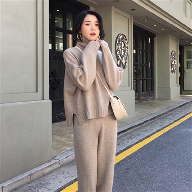 2019 Winter Autumn Spring Knitted Tracksuit Turtleneck Sweatshirts Women Suit Clothing 2 Piece Set Knit Pant Female Pants Suit