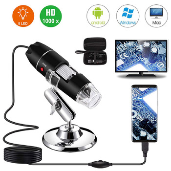 USB Digital Microscope 40X to 1000X Bysameyee 8 LED Magnification Endoscope Camera with Carrying Case & Metal Stand student compound microscope amscope supplies 40x 1000x glass optics metal frame student compound microscope slides
