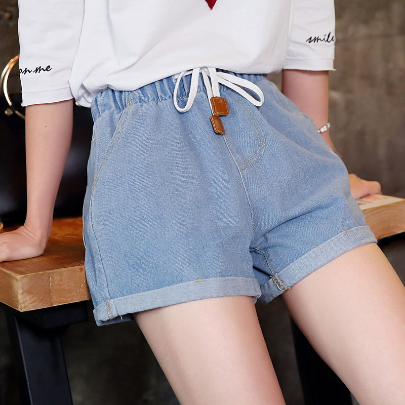 Summer Wear Elastic Waist Large Size Jeans WOMEN'S Shorts Sexy Elasticity Slimming Hot Pants Shorts Pants A-Piece