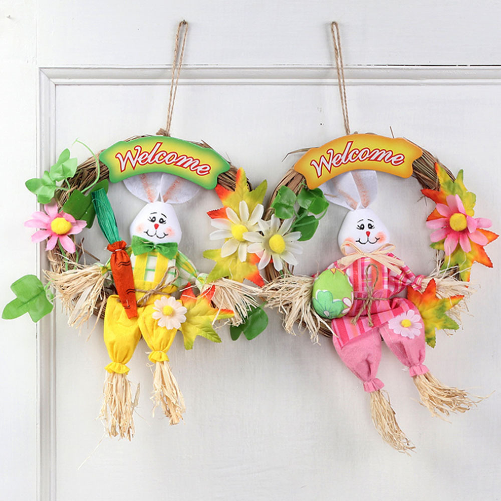 New Beads Toys  Straw Cute Easter Rabbit Easter Rabbit With Carrot Wreath Garland Party Door Decoration Easter  Crafts For Kids