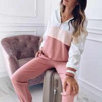 Conjunto de calças de duas peças conjunto chandal moda mujer deportivo feminino primavera lounge wear jogging femme mais tamanho