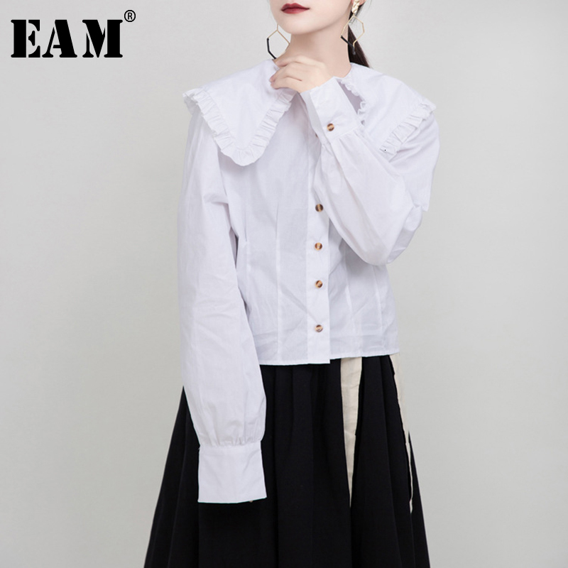 [EAM] Women White Pleated Split Joint Temperament Blouse New Lapel Long Sleeve Loose Fit Shirt Fashion Spring Autumn 2020 1M942
