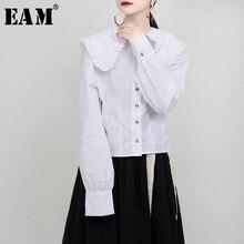 [EAM] Blusa plisada de manga larga para primavera y otoño, camisa holgada con solapa nueva, color blanco, 2020