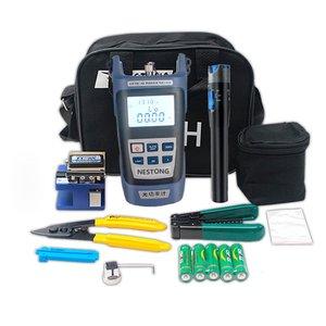 Kit de junção fria de fibra óptica, couro, fibra óptica, teste de fibra, caneta de luz vermelha, faca de corte, medidor de potência, alicates para descascar