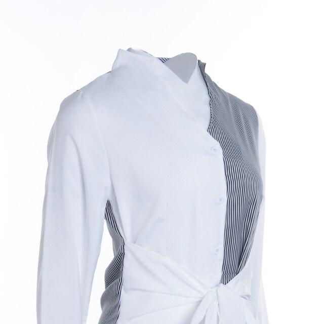Fashion Shirt Dress Women Stripe Patchwork Short Party Dress Summer Autumn Holiday Sundress Office Lady Casual Dresses 4