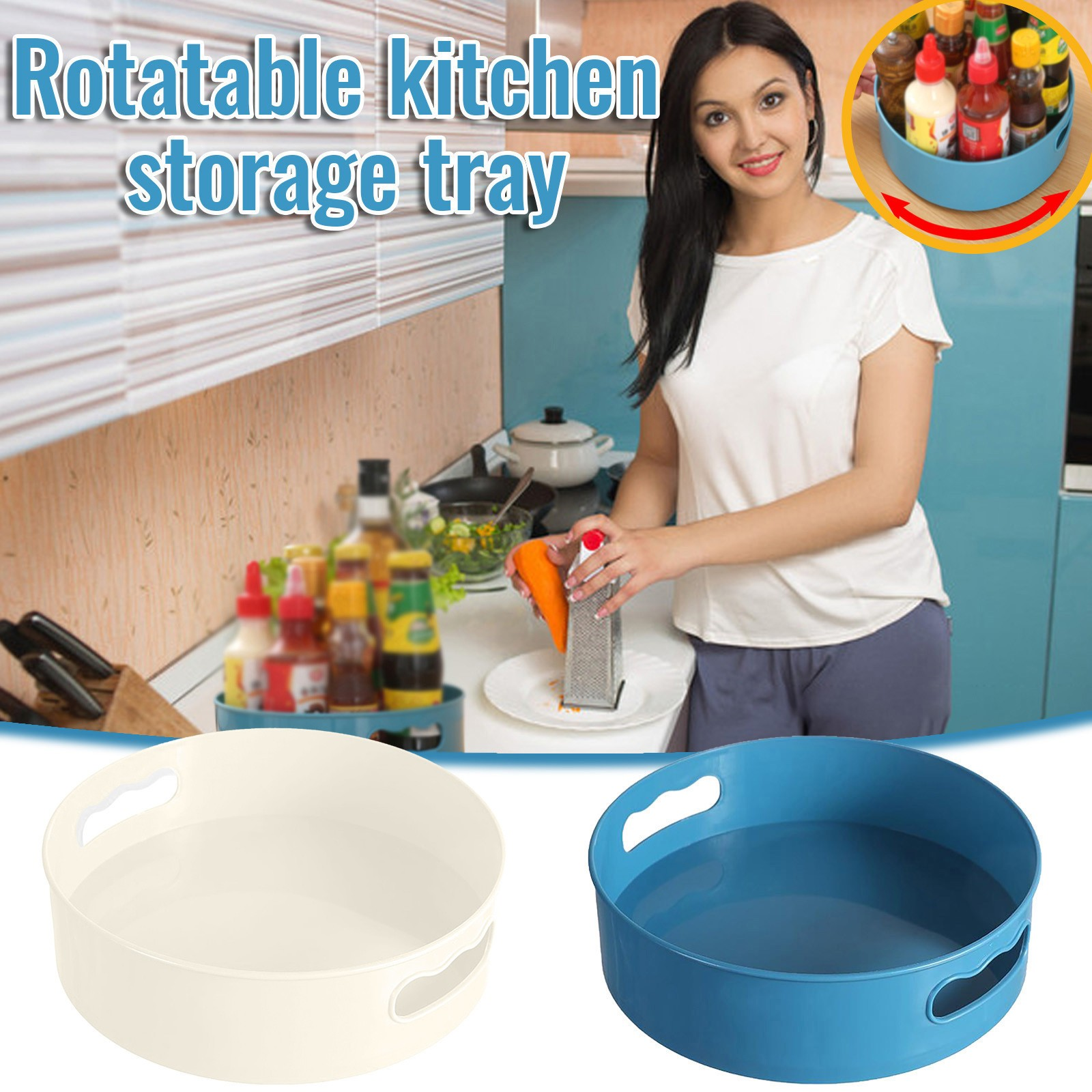 #50 Multifunctional Bathroom Storage Box Rotatable Kitchen Storage Tray With Handle Kitchen Table Meal Ring Trays Storage 1