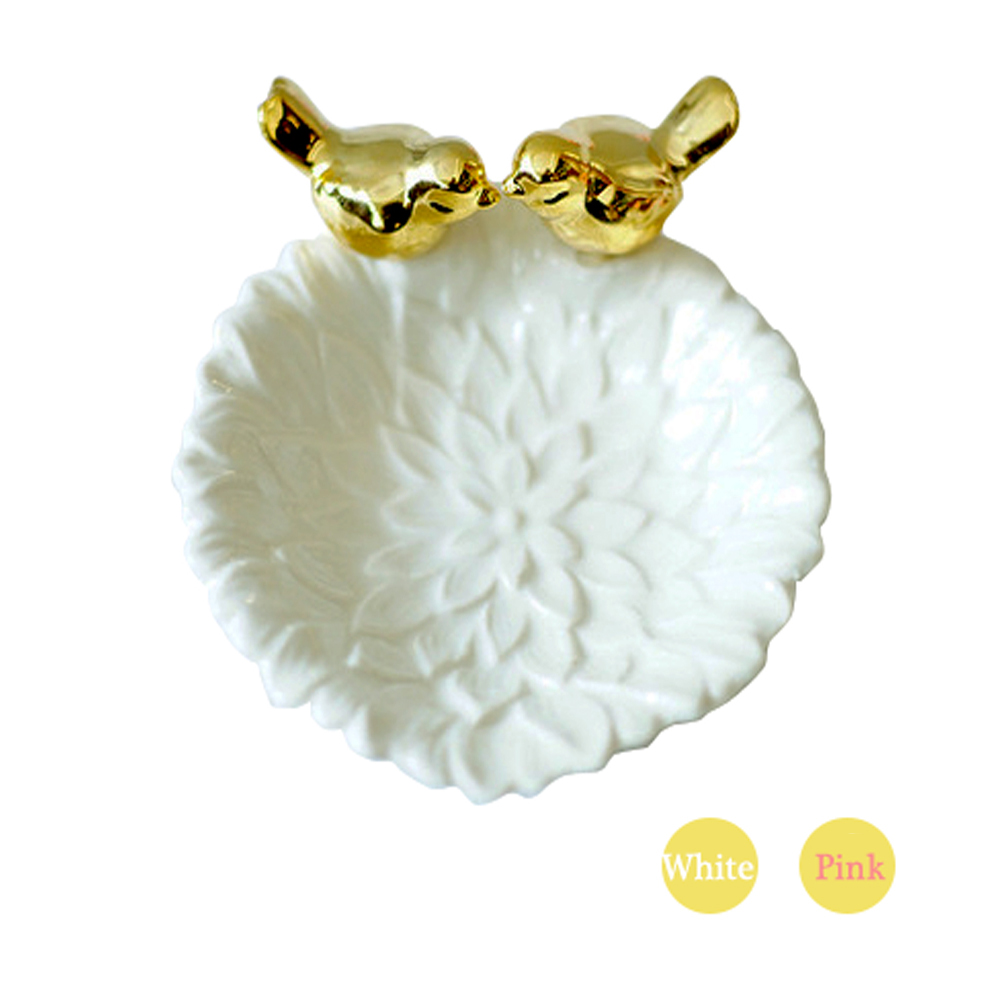 Ceramic Leaves Plate Bird Jewelry Snacks Dessert Silver Storage Tray Rose Gold Ceramics Jewelry Enamel Trinket Dish