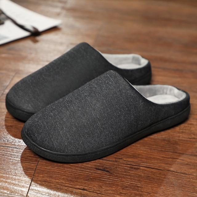 Winter Home Slippers Mens Shoes Short Plush Warm Flip Flop Soft Men Casual Footwear Indoor Slipper Zapatillas De Hombre Big Size
