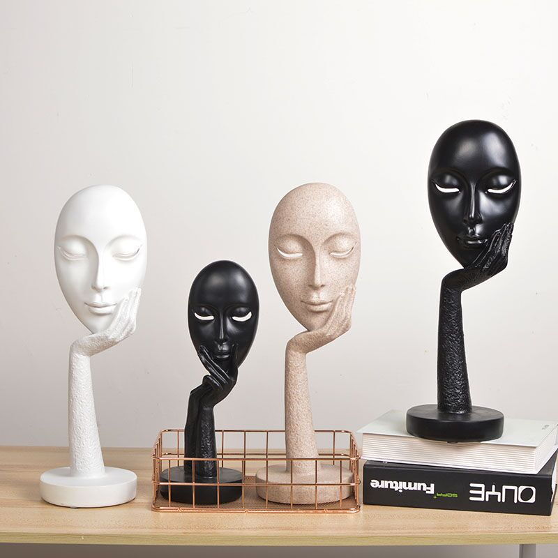 Human Abstract Characters Crafts Ornaments Women Lady Face Art Statue Sculpture Resin Handmade Carving Figurine Home