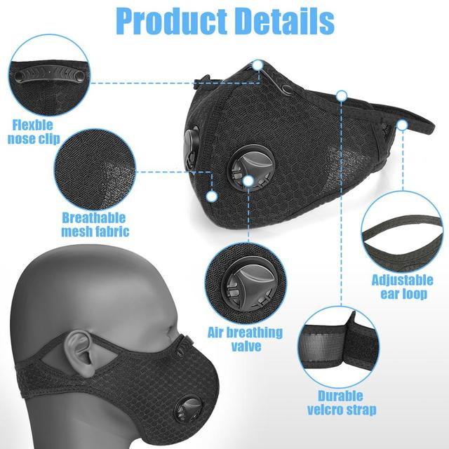 3PCS Sport Face Mask With Filter PM 2.5 Anti-Pollution Running Cycling mouth Masks protection respirator facemask 2