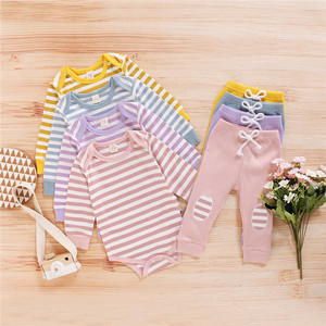 Autumn Toddler Kids Baby Boys Girls Clothes Sets Newborn Infant Striped Long Sleeve Romper Tops+Pants Trousers Outfit Clothes(China)