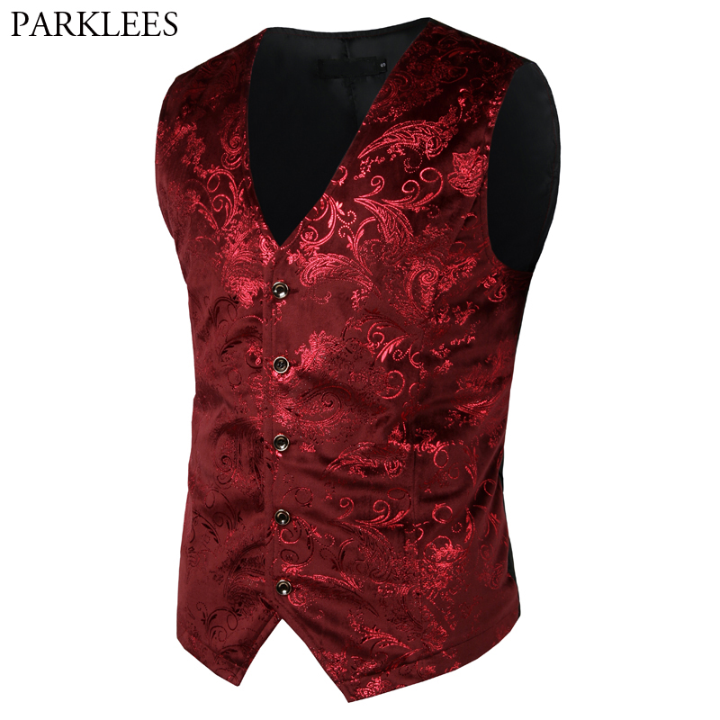 Mens Red Paisley Bronzing Vest Single Breasted V Neck Wedding Suit Vests Men Gothic Aristocrat Steampunk Victorian Gilet Homme