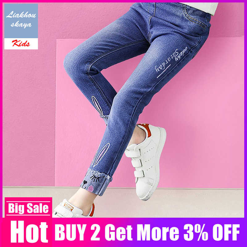 2019 Fashion Jeans For Teenagers Girls Skinny Jeans Kids Embroidered Clothing Casual Jeans Pencil Denim Pants For Spring Autumn