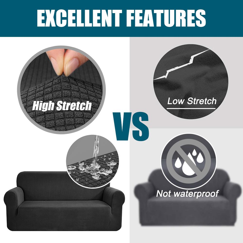 Fleece Sofa Cover Waterproof Solid Color Sofa Covers for Living Room Armchairs Stretch Covers Non-Slip Soft Furniture Protector 2