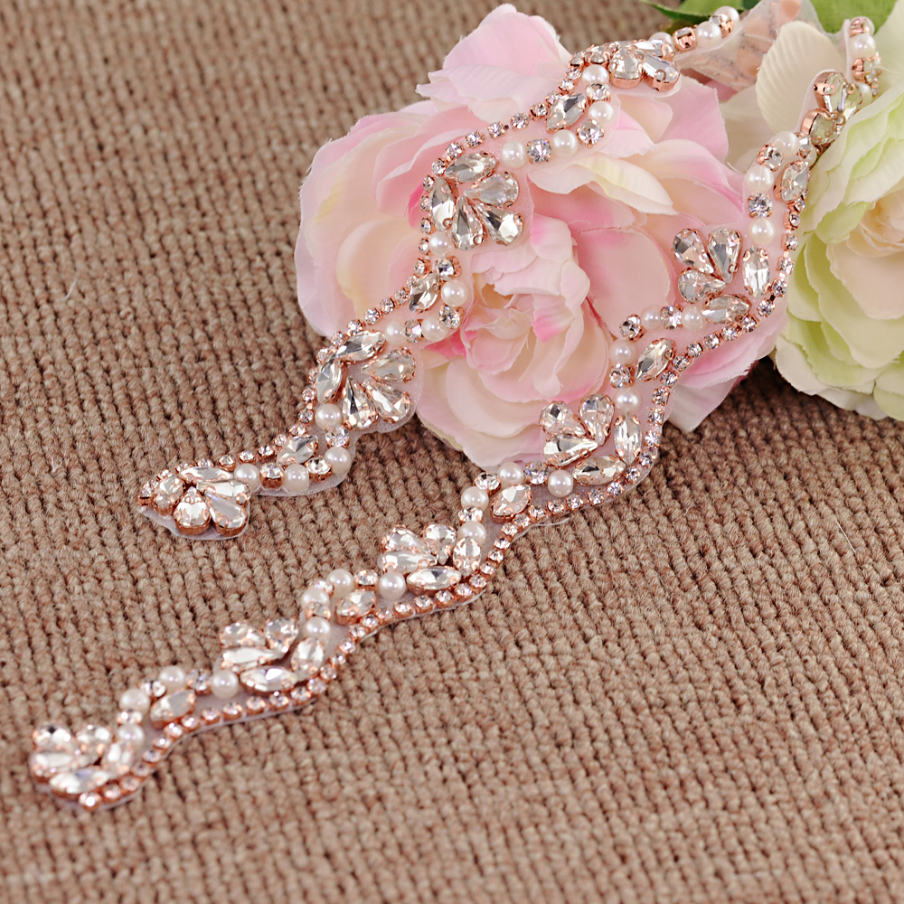 TRiXY S421-RG Rose Gold Rhinestones Bridal Belt Diamond Wedding Dress Belt Crystal Wedding Sash For Wedding Dress Accessories