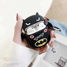 For AirPod 2 Case 3D Black Batman Cartoon Soft Silicone Wireless Earphone Cases Apple Airpods Cute Cover Funda