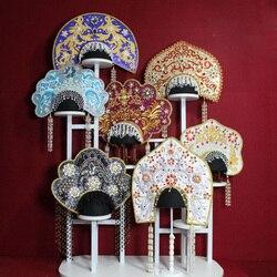 7 Ontwerpen Russische Etnische Mode Haar Tiara Multicolor Kwastje Kroon Stuk Voor Fotografie Show Hoofddeksel Haar Sieraden