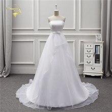 Vintage Simple Wedding Dresses 2019 A Line Strapless Bridal Dress Sweep Train Bow Robe De Mariage Vestido Noiva Fast Shipping