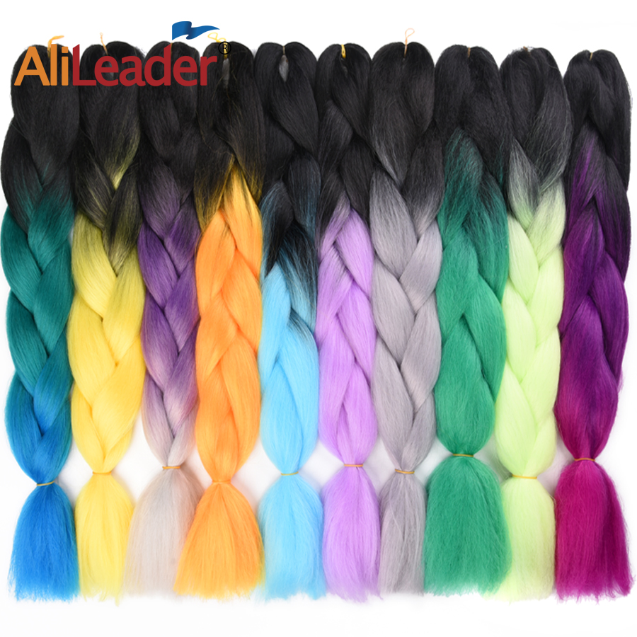 Alileader Hair-Extensions Crochet-Hair Braiding Synthetic Ombre 103-Colors 24inch