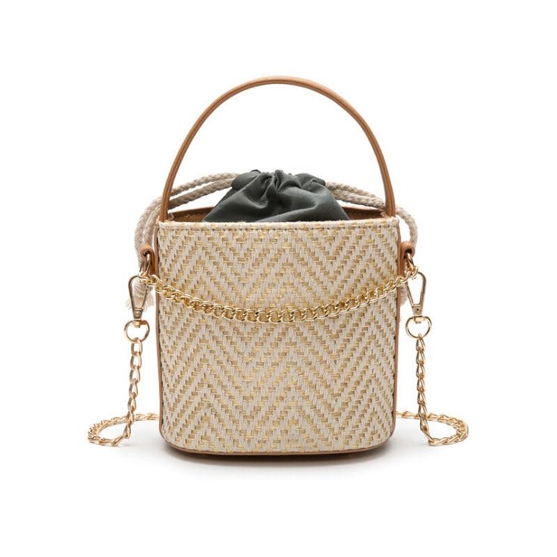 Brand Design Bucket Woven Bag Totes Straw Bag Summer Vacation Beach Bag women shoulder Bags bolsa feminina Rattan Totes Travel