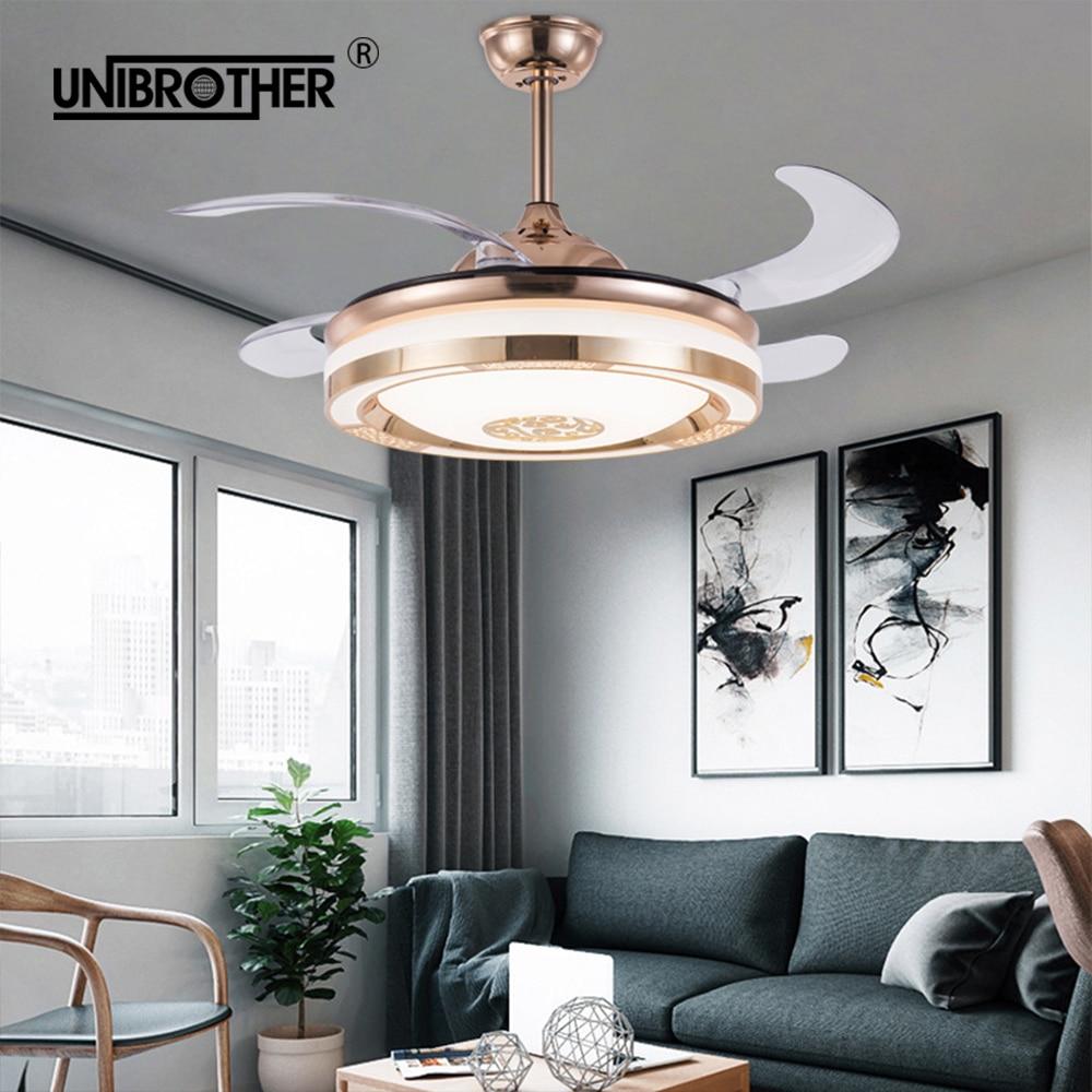 Görünmez led ışıklı tavan fanı akıllı desteği cep telefonu APP invertör yemek uzaktan kumanda ile yatak odası karartma