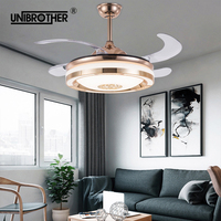 Invisible led ceiling fan light smat support Mobile phone APP Inverter dining bedroom with remote control dimming