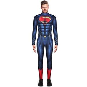 Image 2 - Superman Cosplay Costume Superhero Bodysuits For Adult Super Man Heros Costume Zentai Jumpsuits Back Zipper Halloween Party