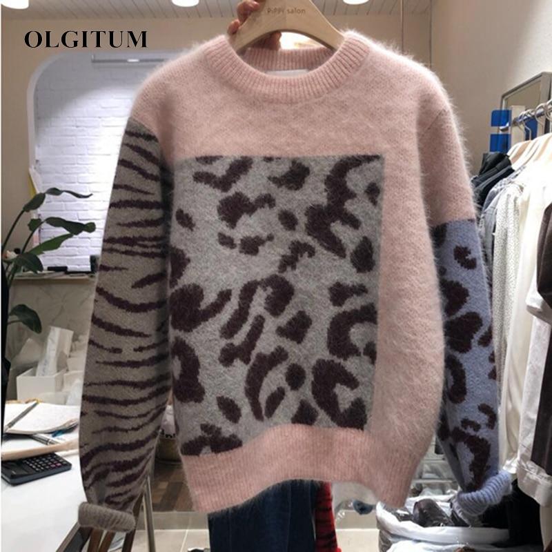 Mohair Sweater Women Harajuku Leopard Print O-Neck Pullovers 2019 New Patchwork Zebra Pattern Sweaters Female Sweater