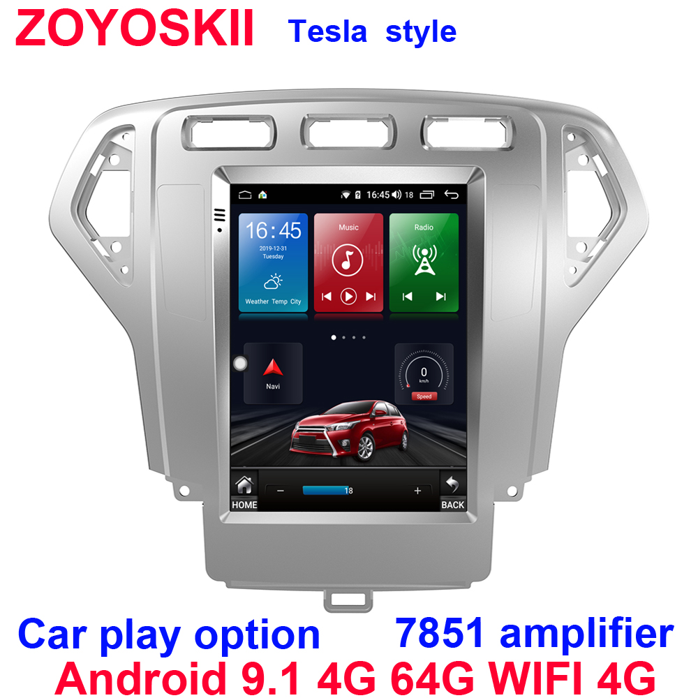 Silver Color Android 9.0 10.4 Inch Vertical Tesla Style Car Gps Radio Bluetooth Navigation Player For Ford Mondeo 2007-2010