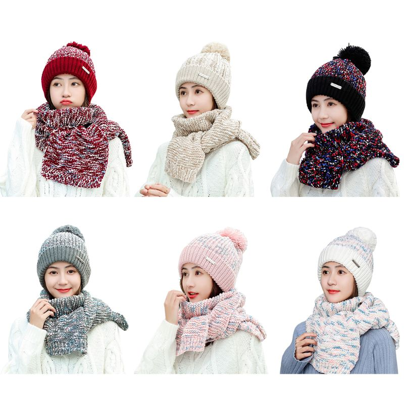 2020 New Womens Winter Warm Chunky Knitted Plush Lined Pompom Beanie Hat Long Scarf Set