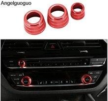3 pçs botão de controle de áudio botão botão de ar condicionado botões do carro volume anel capa guarnição para bmw x3 g01 x4 g02 5 series g30 6gt gt6