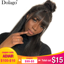 360 Lace Frontal Wig With Bangs 13x6 Straight Lace Front Human