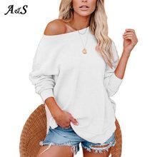 Anbenser women hoodies solid color hooded top female slash neck