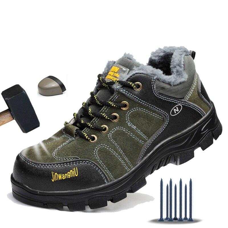 Manlegu/Мужская обувь; зимние ботинки; Мужская защитная обувь; нескользящая рабочая обувь со стальным носком; кожаные зимние кроссовки