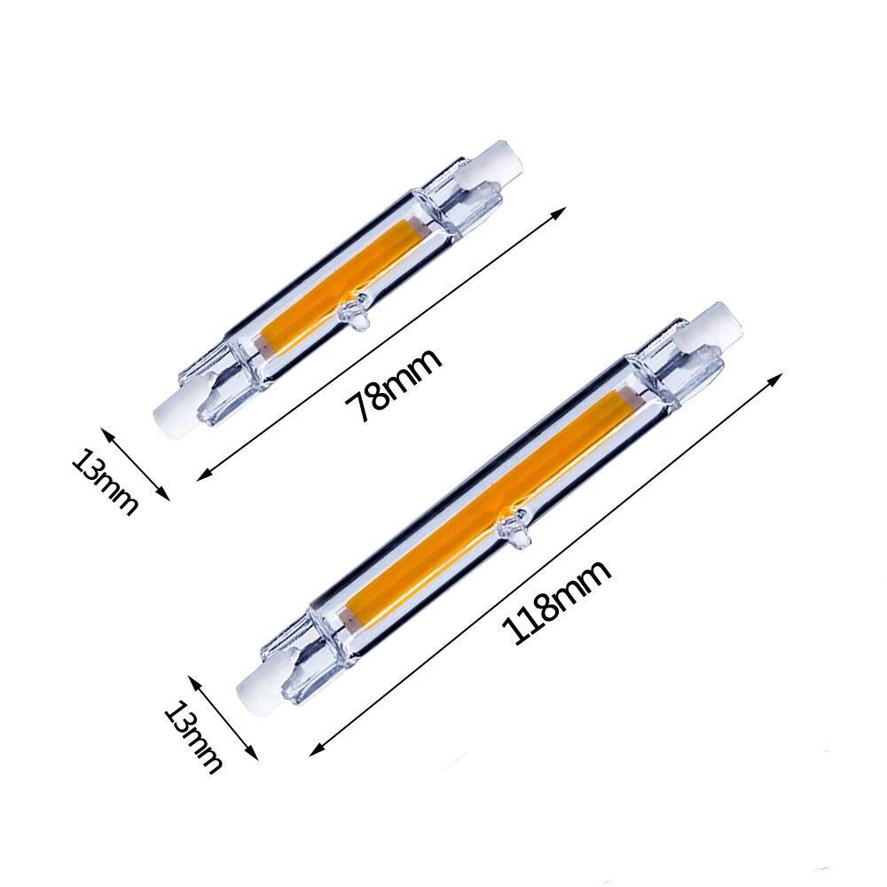 R7S светодиодный светильник 118 мм 78 мм 50 Вт 40 Вт 30 Вт 20 Вт 15 Вт с регулируемой яркостью COB лампочка стеклянная галогеновая лампа светильник AC85 ~ 265 В R7S Светодиодный точечный светильник|Светодиодные лампы и трубки|   | АлиЭкспресс
