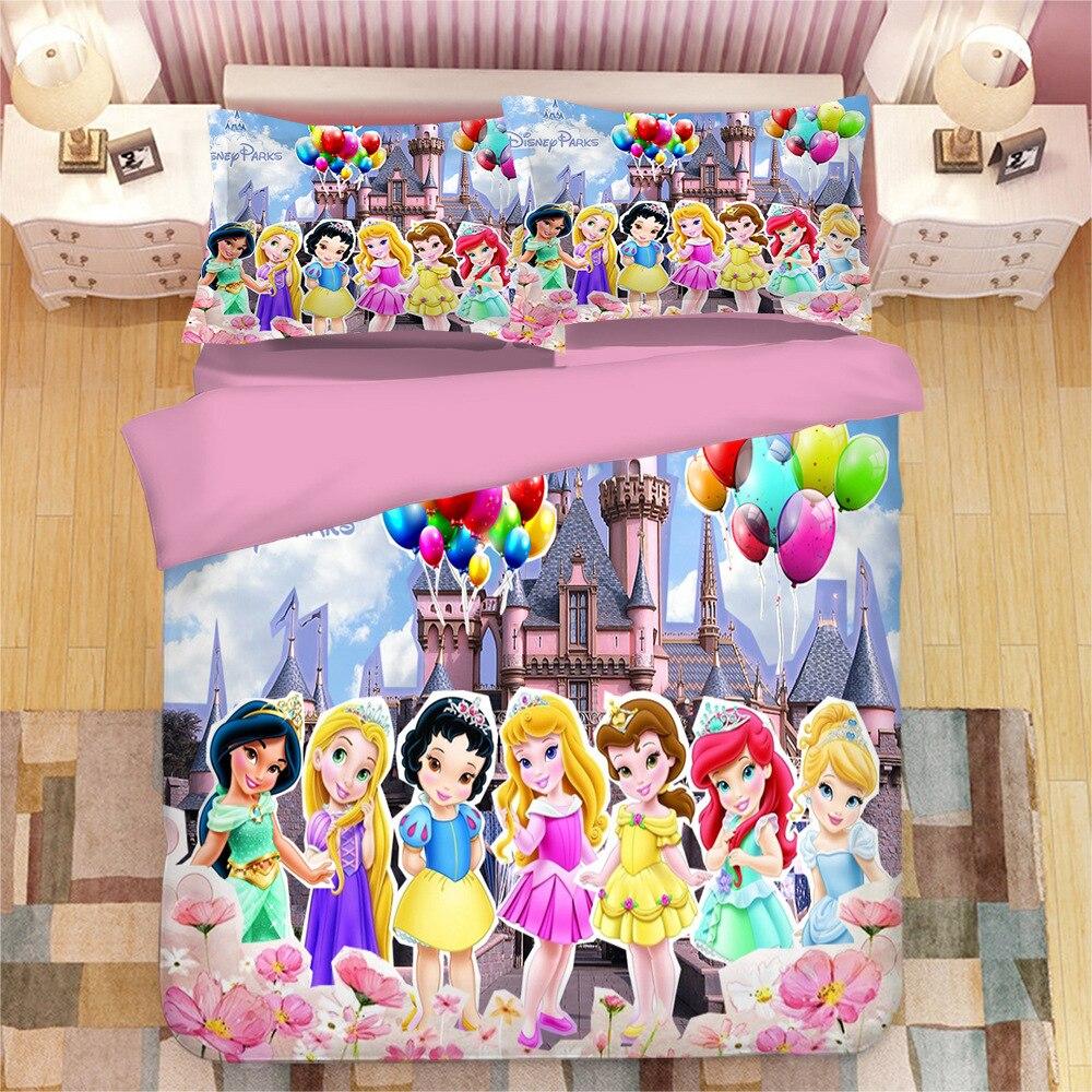 Bedding Set Disney Rapunzel Beauty Snow White Beautiful Down Duvet Cover Pillowcase Children Baby Girl Gift Bedroom Decor