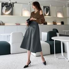 Skirt Women Solid-Button Slim Elegant Office Lady High-Waist Fashion Pick DEAT HC006