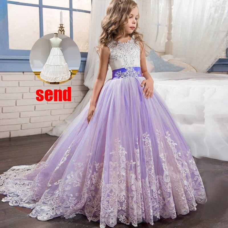 Платье с цветочным узором для девочек на свадьбу; вечерние платья; vestidos de primera comunion; платье для первого причастия; Пышное Бальное платье для детей; цвет белый - Цвет: purple