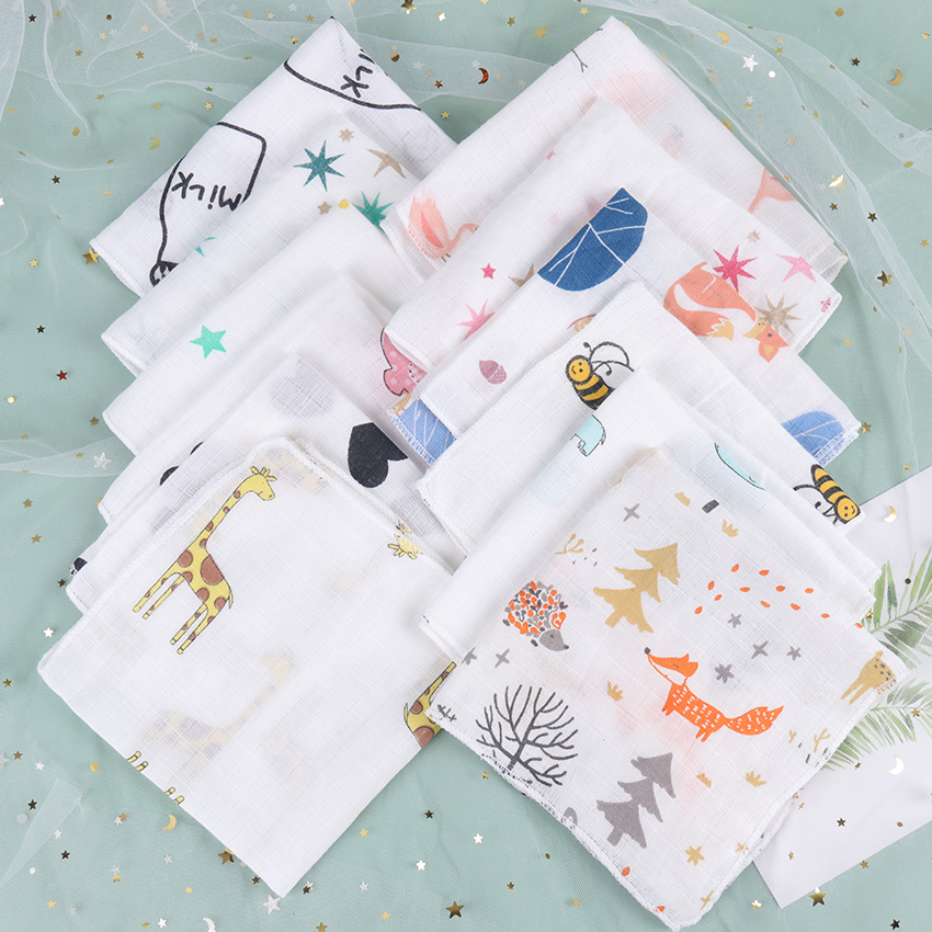 5PCS Kids Baby Cartoon Towel Handkerchief Cotton Muslin Towel Handkerchiefs Two Layers Wipe Handkerchiefs 28X28cm
