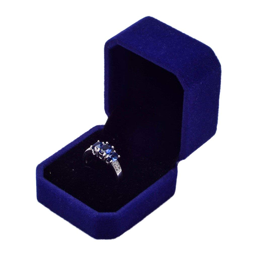 Velvet Engagement Wedding Ring Earrings Gift Box Jewelry Boxes Display Storage Case Sapphire Blue
